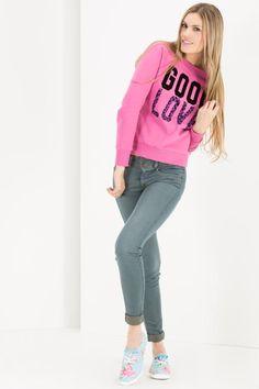 FLEECE ESTAMPADO Graphic Sweatshirt, Sweatshirts, Sweaters, Clothes, Women, Fashion, Sacks, Clothing, Outfits