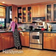 How to Refinish Kitchen Cabinets: Transform dated, worn-out cabinets into attractive new ones. This article shows how to refinish old kitchen cabinets and replace the doors and hardware.