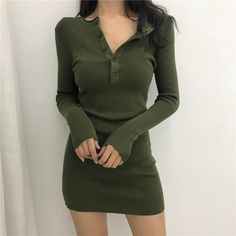 knitted sweater bodycon winter dresses women autumn v neck long sleeve sexy sweater dresses midi dresses elastic slim party dress Tokyo Street Fashion, Korean Street Fashion, Japan Fashion, Style Hipster, Style Grunge, Soft Grunge, Cute Casual Outfits, Stylish Outfits, Fashion Outfits
