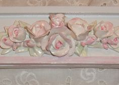 Cottage Shabby Chic Frame with Rose Swag Applique Attached - Sweet