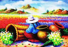 Peruvian Art - Peruvian Campesina with Child Peruvian Art, Latino Art, Bright Art, Chicano Art, Mexican Art, Stencil Painting, Whimsical Art, Art Google, Art Boards