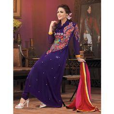 Purple Georgette Indian Churidar Kameez - TheEthnicWear #fashion  designer salwar kameez -  women clothing -  dress