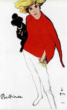 Illustration René Gruau, June 1963, Bettina.