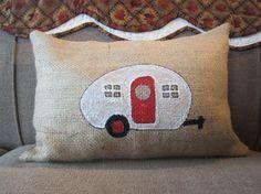 Travel Pillow, Throw Pillow, Teardrop Camper Pillow, Camping Pillow, Recycled Burlap Coffee Sack Pillow. $20.00, via Etsy.
