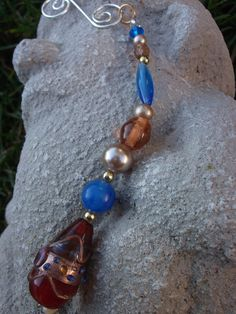 Christmas Ornament Amber Blue Pearl Bead Upcycled by mscenna, $6.00