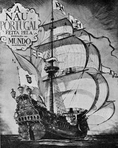 the nau portugal Boat Drawing, Ship Drawing, Shark Tattoos, Tatoos, Traditional Shark Tattoo, Portuguese Empire, Old Sailing Ships, Ship Of The Line, Davy Jones