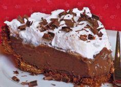 Microwave Chocolate Cream Pie in a Baked Graham Cracker Crust
