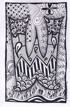 Zentangle Letter W Zebra Letters name bunting por ForeverTangles, £3.50