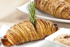 Hasselback Potatoes with Balsamic Mayonnaise Dipping Sauce | | Kosher Recipes - Joy of Kosher with Jamie Geller - Jewish Recipes and Menus