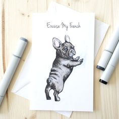 Excuse My French Bulldog Valentine's Day Card by BeckyWarrenDesign