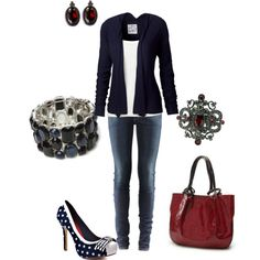 """""""Navy w/ Pops of Red"""" by amyjoyful1 on Polyvore"""