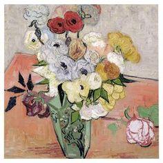 Roses and Anemones 1890 by Van Gogh Canvas Giclee Print