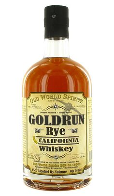 Goldrun Rye Whiskey from Belmont, CA Rye Whiskey, Whiskey Trail, Scotch Whiskey, Whisky, Whiskey Bottle, Wines, Liquor, Amber, Food Ideas