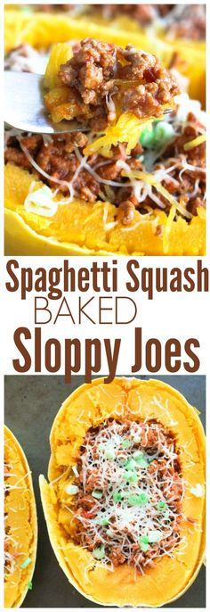 Spaghetti Squash Baked Sloppy Joes from SixSistersStuff.com | 5 Ingredient, Easy, Kid Approved, Healthy Dinner Recipes | Healthy Meal Ideas | Summer Dinner