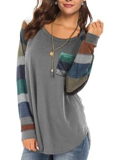 Women's Casual Long Sleeve Round Neck Gray Loose Tunic T Shirt With Po – Sampeel Women's Casual, Latest Fashion Trends, Tunic, Pocket, Gray, Clothes For Women, Long Sleeve, Sweaters, T Shirt