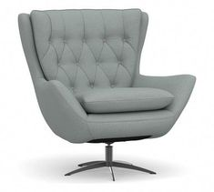 Wells Upholstered Swivel Armchair with Brushed Nickel Base, Polyester Wrapped Cushions, Performance Chateau Basketweave Light Gray Upholstered Swivel Chairs, Swivel Armchair, Modern Armchair, Retro Office Chair, Office Chairs, Oversized Furniture, Oversized Chair, Cheap Adirondack Chairs, Purple Chair