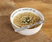 "$22.99 Ceramic dip bowl features debossed ""Hummus for some of us"" sentiment along inside rim. Comes with silverplate ""It's a pita hummus gets a bad wrap"" coordinating spreader in gift packaged corrugate wrap http://piperlillies.com/"