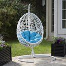Hanging Egg Chair Resin Wicker Swing Outdoor Patio Furniture Cushion Stand White for sale online