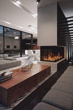23 modern fireplace ideas interior design, home decor, design, decor, luxury… Home Interior Design, Modern Home Interior Design, Modern Houses Interior, House Interior, Luxury Homes, Modern House Design, Luxury Homes Interior, Modern Fireplace, Modern House