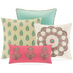 """Echo Guinevere 18"""" Square Decorative Pillow ($40) ❤ liked on Polyvore featuring home, home decor, throw pillows, french vanilla, patterned throw pillows, embroidered throw pillows, square throw pillows and textured throw pillows"""