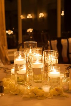 Candles create a warm, inviting atmosphere and nothing sets the mood for an intimate evening better than their calming flickering light! Perfect for adding to the romantic ambiance of any occasion from dressing up the dining table for a romantic dinner for two…to decorating along the aisle during a wedding ceremony with candles secured in hurricane glass or lanterns! Candles can be incorporated into every décor plan so let your imagination run wild with this timeless classic!