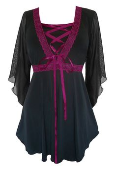 Dare To Wear Victorian Gothic Women's Plus Size Bewitched Corset Top Black/Burgundy