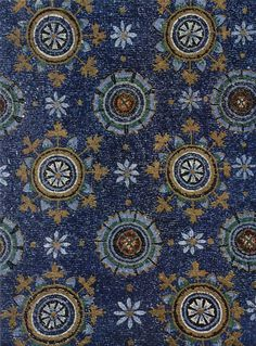 Blue Byzantine mosaic representing the night sky in the Mausoleum of Galla Placidia in Ravenna, Italy. 5th century CE