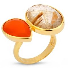 Серебряное кольцо с позолотой, карнелианом и кварцем
