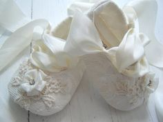Ivory Lace Baby Shoes, Baby Ballet Slippers,Baby Girl Ballet Shoes, Emma, Bobka Shoes  By BobkaBaby55