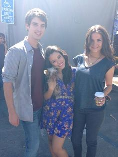 David Lambert, Cierra Ramirez and Maia Mitchell on the set of The Fosters!