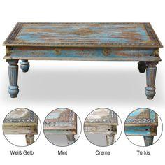 Wohnzimmertisch Couchtisch Holztisch Tisch Landhaus Barock Vintage Shabby Retro Antik Look 120 cm x 75 cm x 45 cm Mango Holz Mangoholz Messing Beschlag Blau Pastell Gold
