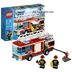 Lego Year 2013 City Series 6 Inch Long Vehicle Set - FIRE TRUCK with Retractable Hose, Extendable Ladder with Rotating Base and an Opening Hatch with Storage Box Plus 2 Firefighter Minifigures (Total Pieces: Lego City Fire Truck, Fire Trucks, Retractable Hose, Firefighter Gear, Lego Birthday Party, Lego Vehicles, Base, Storage