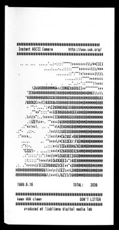Exhibit 82. ASCII CAMERA 1999. Before computer graphics, users made illustrations using the characters on a computer keyboard. ASCII Camera is one of a number of ASCII art pieces created by Vuk Cosic in the late 1990s. Trained as an archaeologist, his work resurrects forgotten technology and shows the beauty of constraints. As modern computers become more powerful, they become less visible but this does not change the fact that they distort reality. ASCII Camera exposes this manipulation.