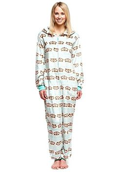 More Animal Onesies. Features  Misses  one-piece pajama Full-zip closure  Sewn-in foot bottoms Character appliqués Polyester Machine wash Imported 6e890ffcb