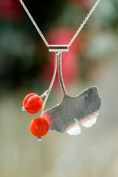 Ginkgo Tree Leaf Necklace with Red Coral Fruit by LichenAndLychee, $146.00
