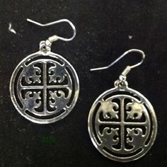 Silver Round Medallion Wire Earrings