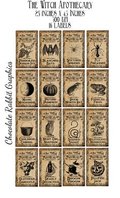 Halloween Witch Aged Apothecary Potion Labels