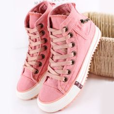 Zipper Lace Up High Top Flat Canvas Sneaker Shoes