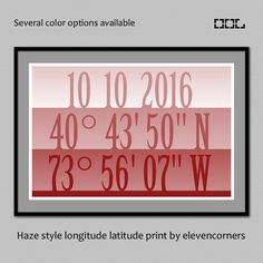 Personalized longitude latitude print | custom GPS coordinates print | housewarming gift | new home gift | travel print | destination poster by elevencorners on Etsy #elevencorners #etsy