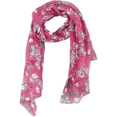 - Soft pink scarf with beautiful Cheshire cat and heart print - Length: approx. 63 cm - Made from polyester Pink Scarves, Cheshire Cat, Heart Print, Alexander Mcqueen Scarf, Wonderland, Polyvore, Stuff To Buy, Shopping, Amazing