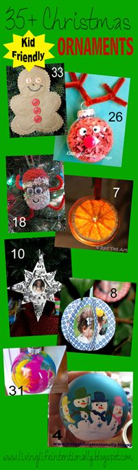 35+ Kid Friendly Christmas Ornaments - huge variety! This is a round-up from so many amazing mommy blogs!!