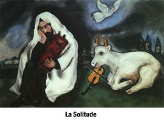 """A painting by Marc Chagall - titled """"Solitude."""" Bank of America Merrill Lynch is to fund the restoration of five Tel Aviv Museum of Art paintings by Chagall including this one. Source: Fleisher PR via Bloomberg News. Marc Chagall, Chagall Paintings, Art Paintings, Arte Judaica, Francis Picabia, Jewish Art, Am Meer, Naive Art, Henri Matisse"""