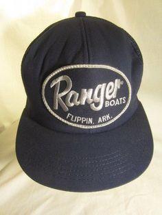 514a776aa4e70 RANGER BOATS Ball Cap FLIPPIN ARK Vintage Trucker Hat Snap Back Blue and  Silver  Ranger