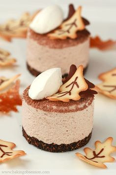 Chestnut Mascarpone Mousse with Tuile Leaf Cookies - how to impress friends and family over the holidays!