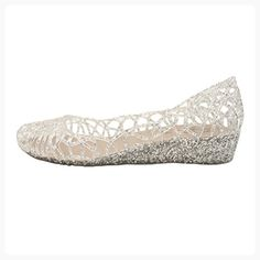 OMGard Womens Hollow Glitter Crystal Ballet Flat Jelly Shoes (*Partner Link)