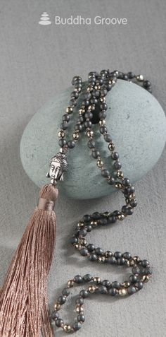 Elegant tassel necklace with mixed beads in grey and gold metallic. Tassel Necklace, Jewelry Necklaces, Bracelets, Buddha Jewelry, Spiritual Symbols, Jewerly, Tassels, Pendants, Glitter
