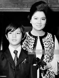 First Lady of the Philippines Imelda Marcos with her son Ferdinand Junior at Heathrow Airport, London on September . Get premium, high resolution news photos at Getty Images President Of The Philippines, From Rags To Riches, Old Money, Ferdinand, Still Image, Fashion Brand, Presidents, Sons, Presentation