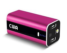 Introducing Portable Charger CWA Mini 8000 mAh External Battery Pack Power Bank Backup Flashlight for iPhone 6 Plus6S6SE5S54S iPad iPod Samsung Galaxy S7 S6 Edge S5 S4 S3 Cell Phones Tablets Pink. Great product and follow us for more updates!