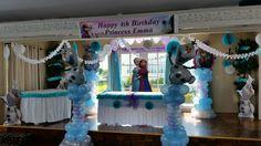 www.partyfiestadecor.com Frozen Balloon Decorations, Frozen Balloons, Happy 4th Birthday, Princess Birthday