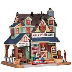 Lemax Village Collection  Christmas Village Building, Porcelain Lighted House Mclntosh Cider Press With 6 Foot Cord